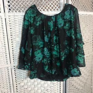 NWT Dressbarn Roz & Ali Women's Floral Bell Sleeve